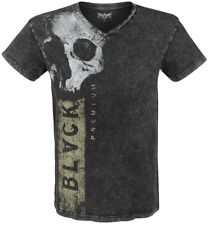 Black Premium by EMP Skull Logo V-Neck T-Shirt grigio