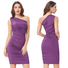 Womens Casual One Shoulder Stretch Ruched Bodycon Cocktail Party Club Midi Dress