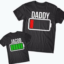 f83a7587 Daddy Low Battery Kids Full Battery Father Kids matching T-shirts Funny  Gift#BA1