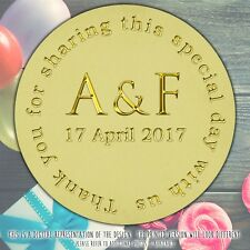 Personalised Wedding Initials round stickers labels party cone sheet