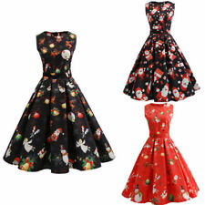 Femmes Rockabilly Robe de Pin Up Retro Vintage années 50s 60s Swing Noël Robes