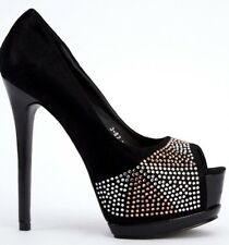WOMENS DIAMANTE STILETTO HIGH HEEL PLATFORM  PROM PEEP TOE COURT SHOES SIZE 3-8