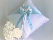 Luxury Personalised Wedding Ring Cushion. In 6 colours with diamante brooch.