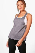 Boohoo Lillie Fit Melange Two in One Running Vest per Donna