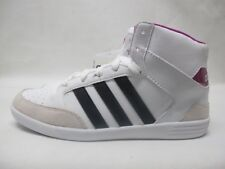 Girls Adidas Vlneo Hoops MID Ladies Lace Up White Leather Trainers
