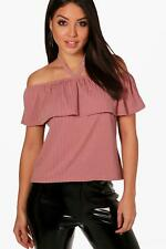 Boohoo top harriet in tessuto con scollo a barca per