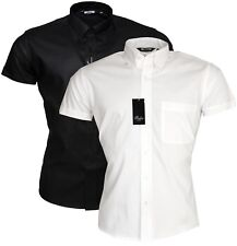Relco Short Sleeve Black & White Button Down Collar Mod Ska Oxford Shirt