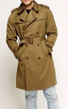 Mens Green-Brown Coat Double Breasted Belt Lapel Knee Long Pocket Trench Jacket