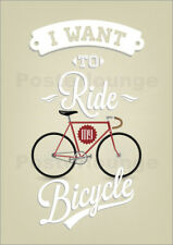 Cuadro de madera I want to ride my bicycle - Typobox