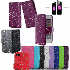 STRASS DiaMonte CUSTODIA COVER a portafoglio in pelle per Apple iPhone 4 5 6 6+