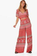 Boohoo Rosie Woven Boarder Crop and Culotte Co-ord per Donna