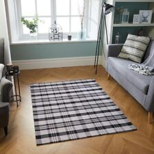 Machine Washable CHECKED TARTAN BLACK GREY Anti slip Kitchen Hall Rug Runner MAT