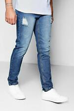 Boohoo Skinny Fit Rigid Jeans With Abrasions per Uomo