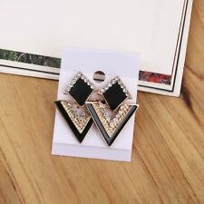 Triangle Crystal Stud Earrings Women Vintage retro Fashion Gold Plated Jewelry