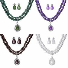 Women Fashion Crystal Pearl Wedding Bridal Necklace Earrings Jewellery Set Gift