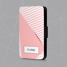 Personalised Phone Case Name Initial Geometric Pink Faux Leather Flip Cover