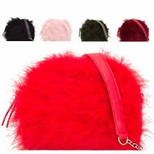Ladies Faux Fur Box Clutch Bag Hard Compact Party Bag Fur Handbag Purse KL2124