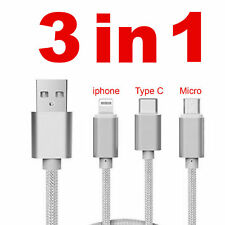 USB High Speed 3 in1 Micro Lightning Sync Data Charger Adapter Cable Universal