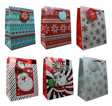 Glossy Gift Bag Christmas Santa Snow Flakes Swirl Designs in Various Colours