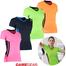 GAMEGEAR LADIES TRAINING T-SHIRT GYM FITNESS YOGA V-NECK TOP CONTRAST STRIPES