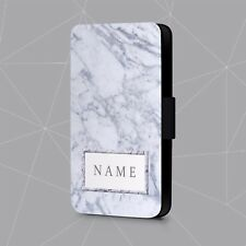 Personalised Phone Case Name Initials Marble Geometric Faux Leather Flip Cover