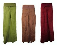 Cotton Flared Trousers with Elastic Waist Early Maternity Hippy Boho Plus Size