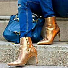 ZARA Gold Shiny Slim High Heel Leather Ankle Boots Shoe Woman Authentic 6112/001