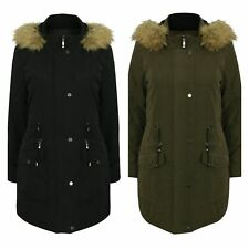 Ladies Womens Water Repellent Hooded Padded Quilted Military Parka Coat Size
