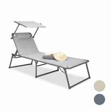 Sunbed Sun Lounger with Roof Relaxing Chair Padded Beach Lounge Chair Deck Chair