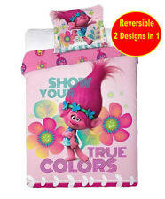 Kids Trolls Show Your True Colors Poppy Duvet Cover Reversible Single Bed Sheet