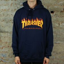 Thrasher Flame Logo Pullover Hooded Sweatshirt – Navy in size S,M,L