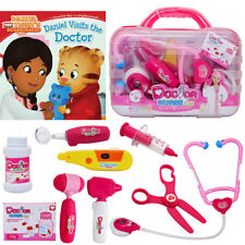 Doctor Kit for Kids Pretend Play Toy 9 PCS Pink + Daniel Visits the Doctor Book