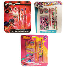 Kids Children's Girls Lady bug Trolls My Little Pony 6pcs Stationery Set