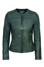 New Luxury Ladies Dark Green Casual Style Fitted Real Soft Nappa Leather Jacket