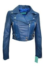 New Luxury Ladies Blue Deluxe Casual Style Fitted Real Soft Nappa Leather Jacket