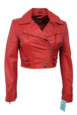 New Luxury Ladies Red Deluxe Casual Style Fitted Real Soft Nappa Leather Jacket