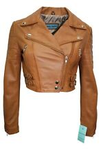 New Luxury Ladies Tan Deluxe Casual Fitted Style Real Soft Nappa Leather Jacket