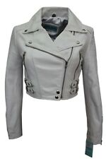 New Luxury Ladies White Deluxe Casual Fitted Style Real Soft Napa Leather Jacket