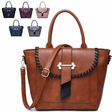 Ladies Faux Leather Bucket Handbag Buckle Shoulder Bag Grab Bag Tote Bag MW2479