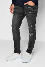 Boohoo Skinny Fit Ankle Grazer Jeans Single Knee Rip para Hombre