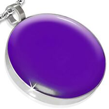 """Stainless Steel Bright Colour Round Circle Pendant with 20"""" Belcher Chain"""