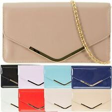 Ladies Stylish Patent Clutch Bag Plain Evening Bag Party Handbag Purse KC80007