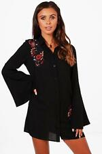 Boohoo Petite Keely Embroidered Flute Sleeve Shirt Dress para Mujer
