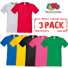 3 x Fruit of the Loom T-SHIRT HOMMES COTON DOUX LYCRA 3 PACK T-SHIRTS S-3XL