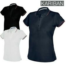 Kariban Donna CONTRASTO MANICA CORTA 5 bottoni Polo Top Casual Ladies NUOVO