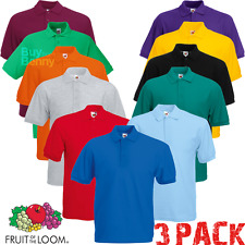 3 x FRUIT OF THE LOOM HOMME chemise polo golf manche courte 15 couleurs