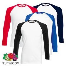 FRUIT OF THE LOOM uomo baseball t-shirt maniche lunghe Contrasto Palestra Sport
