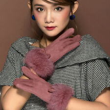 Lady Faux Rabbit Fur Trim Suede Gloves Soft Fur Lined Touch Screen Glove Warm