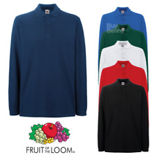 FRUIT OF THE LOOM uomo Polo Manica Lunga Cotone Premium casual S-3XL OFFERTA