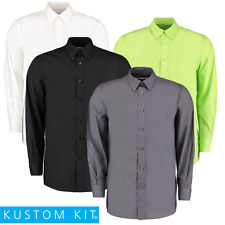 KUSTOM KIT Uomo Camicia manica lunga alzato Colletto Button-Down